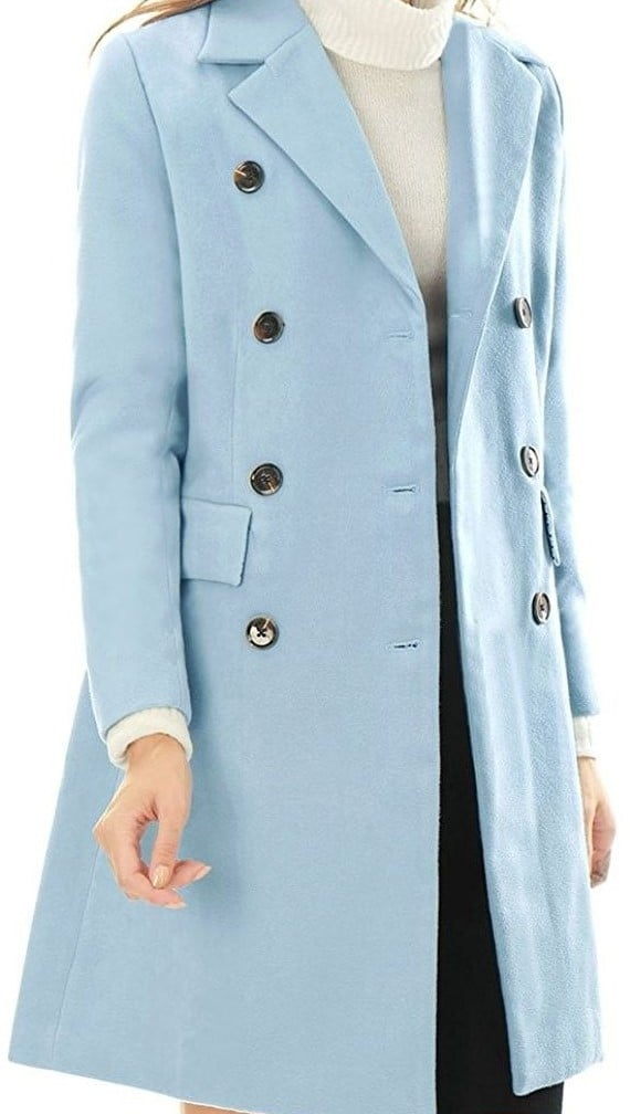 Allegra K Women's Double Breasted Winter Coat