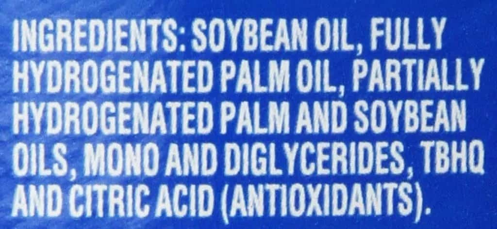 Crisco list of ingredients