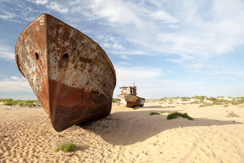 Abadoned ship in Aral Desert, Munyak, Karakalpakstan, Uzbekistan