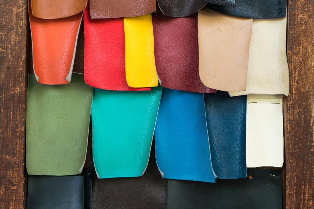 PU artificial leather swatch on wooden board