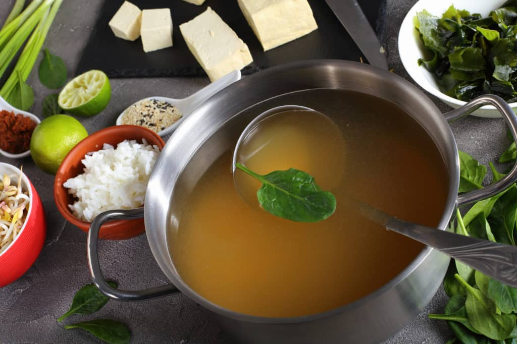 dashi in a stainless casserole